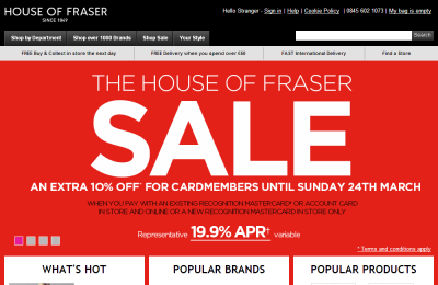 Official House of Fraser UK Website
